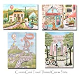 Travel Themed Girls Bedroom Decor Coral, Set Of 4 Canvases, Personalized, Tuscany, Paris, 5 Sizes