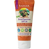 Badger - SPF 30 Kids Sunscreen Cream with Zinc Oxide for Face and Body, Broad Spectrum & Water Resistant Reef Safe Sunscreen, Natural Mineral Sunscreen with Organic Ingredients 2.9 fl oz