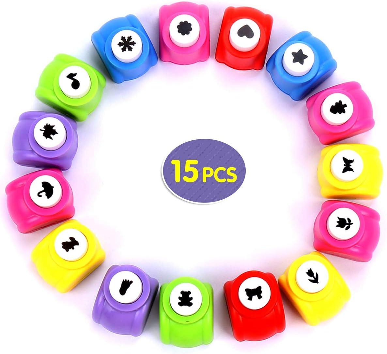 Flantor Paper Punches,15pcs Punch Craft Set Mini Punches Hole Punch Shapes Hole Punch Shape Scrapbooking Supplies for Kindergarten Teacher Office Supplies Kids