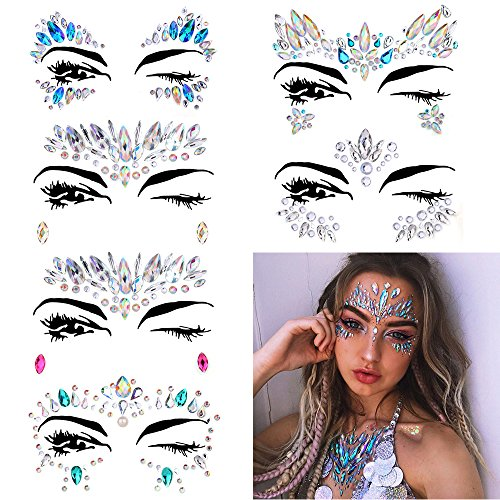 6 Sets Women Mermaid Face Gems Glitter,Rhinestone Rave Festival Face Jewels,Crystals Face Stickers, Eyes Face Body Temporary -