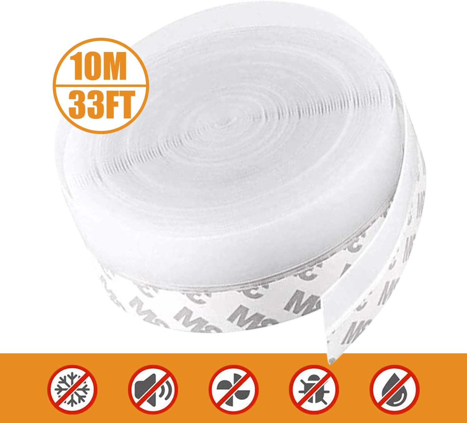 Door Seal Strip Weather Stripping Silicone Seal Strip for Door Windows,Weatherproof Soundproof Self Adhesive Door Strip Bottom 32.8 FT(Width 25mm)