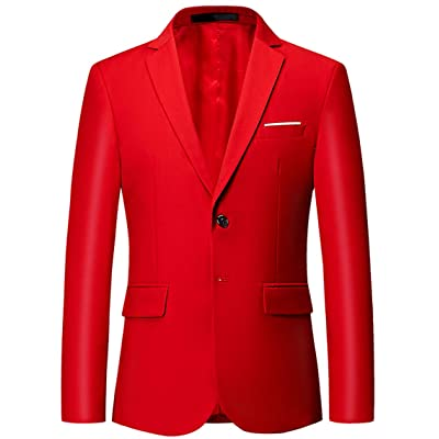 OUYE Men's 2 Button Solid Single Breasted Suit Jacket at Amazon Men's Clothing store