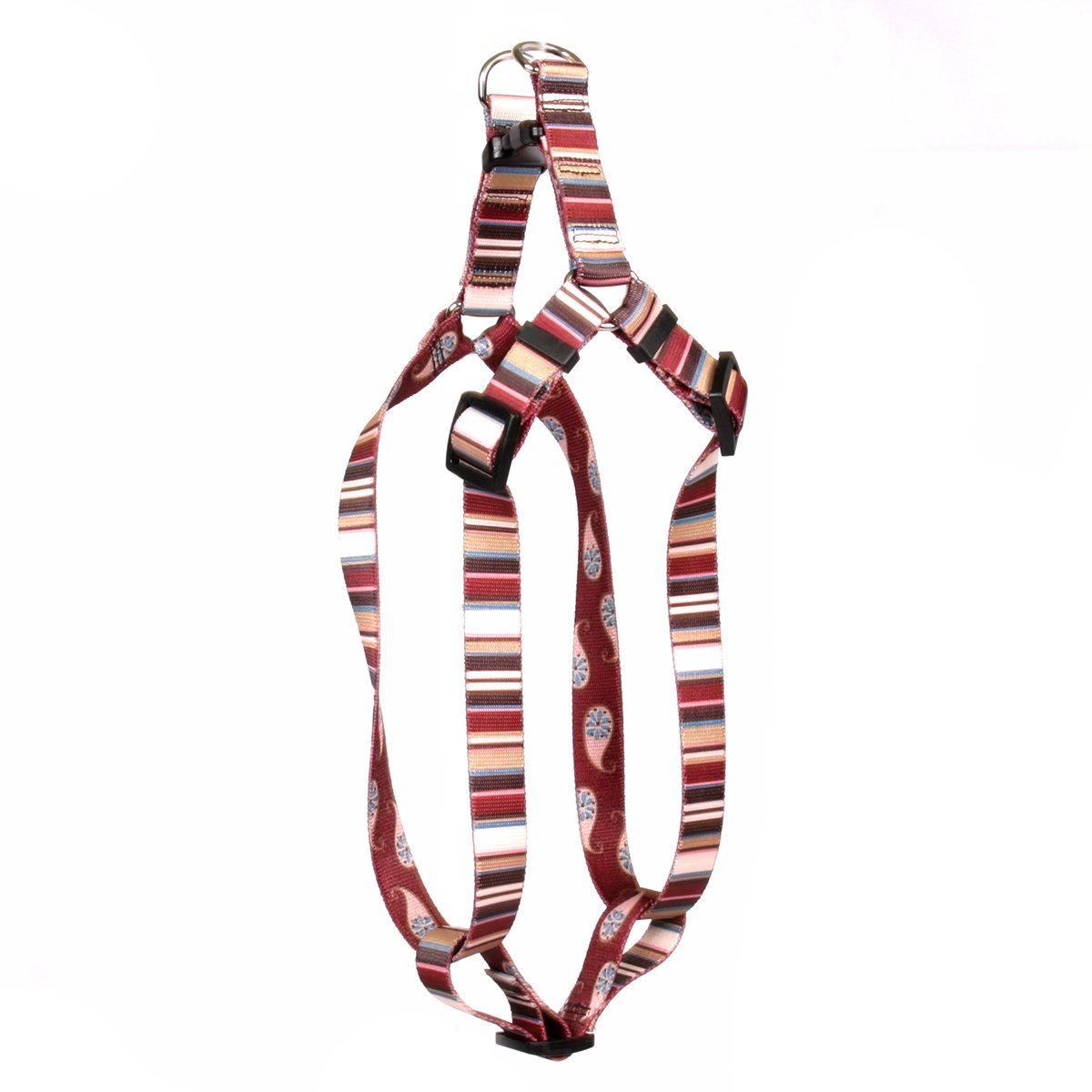 Yellow Dog Design Burgundy Stripes Step-in Dog Harness 1'' Wide and Fits Chest of 25 to 40'', Large