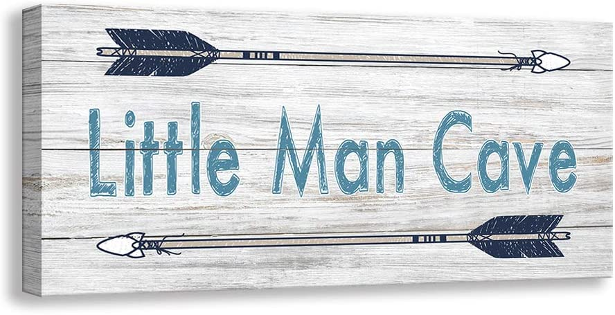 Kas Home Vintage Boys Nursery Canvas Wall Art | Rustic Kids Bedroom Rules Prints Signs Framed | Little Man Cave Wood Sign Decor (8 X 16 inch, Lil Man Cave -W)