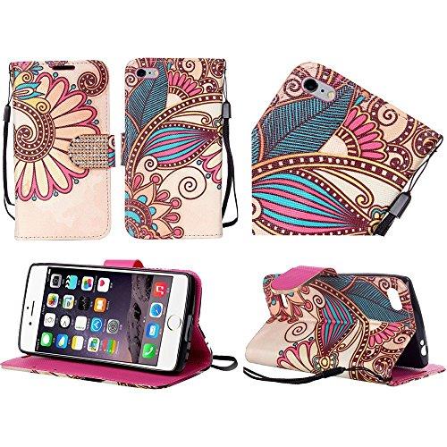 iPhone 6 Plus Case, Bastex PU Leather Antique Flower Design Bling Flip Wallet Credit Card Case Cover for iPhone 6 Plus, 6s Plus
