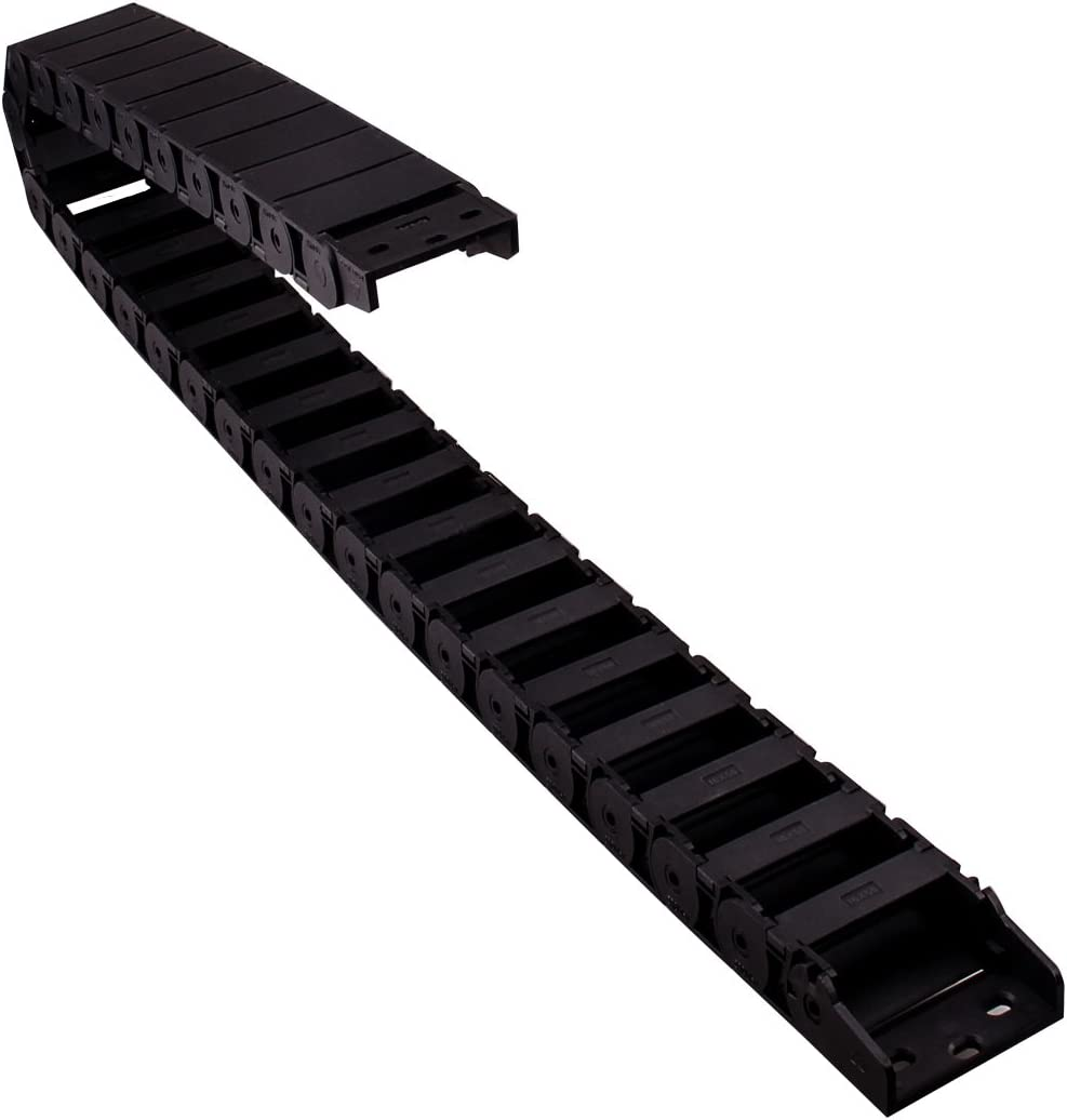 uxcell R38 18mm x 50mm Black Plastic Semi Closed Cable Wire Carrier Drag Chain 1M Length
