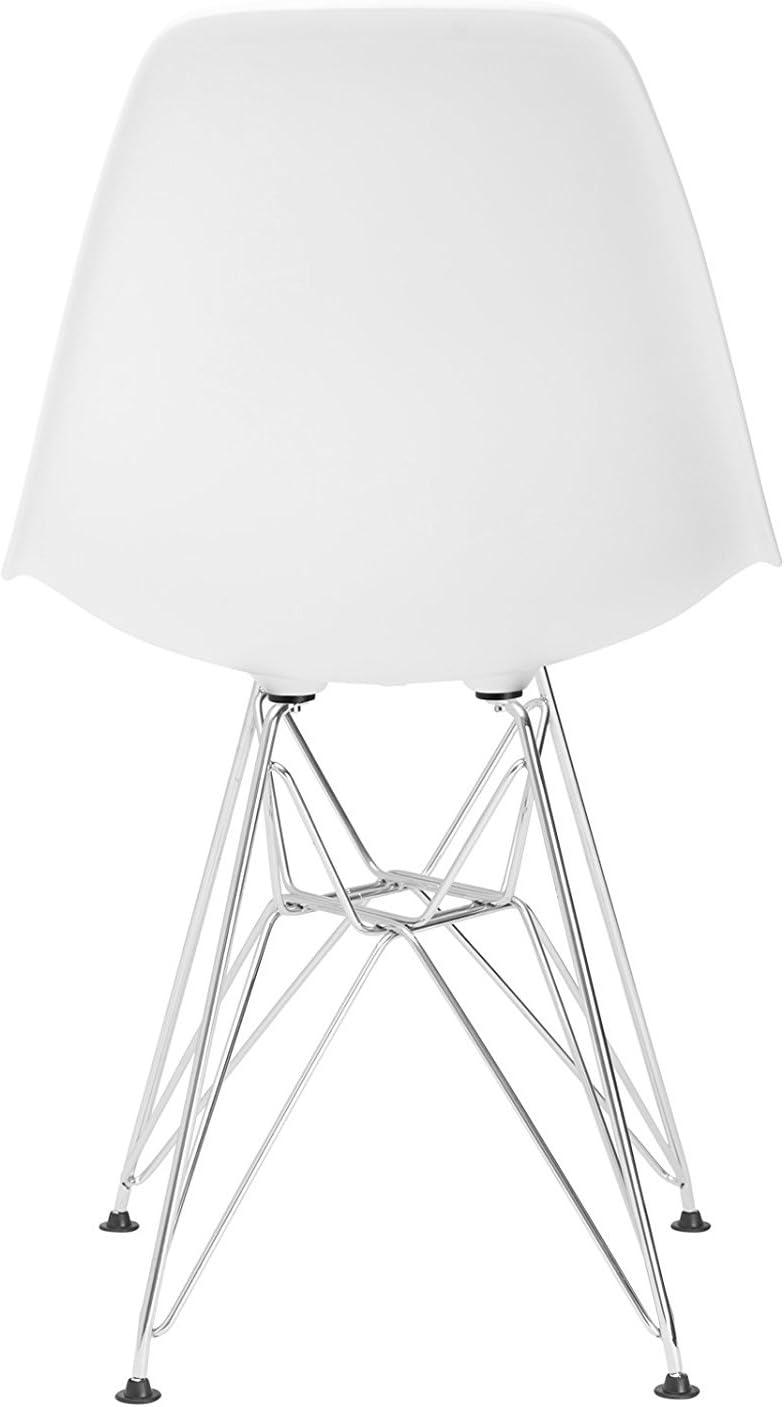 N/C Lot de 4 Chaises de Salle à Manger Pieds en métal chromé Style Industriel Cuisine/Restaurant (Gris) Blanc