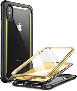 i-Blason Ares Full-Body Rugged Clear Bumper Case for iPhone Xs Max 2018 Release, Gold, 6.5""