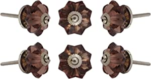 Set of 6 Crystal Glass Melon Knobs Kitchen Cabinet Cupboard Glass Door Dresser Wardrobe and Drawers Pull by Perilla Home 0.226kg