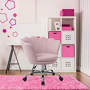Goujxcy Desk Chair,Modern Linen Fabric Office Chair,360° Swivel Height Adjustable Comfy Upholstered Flower Accent Chair (Pink)