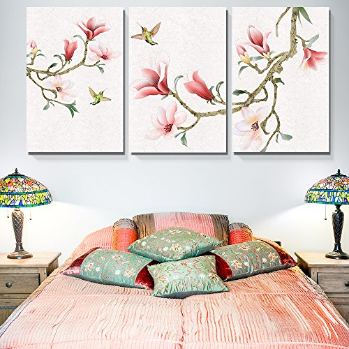 3 Panel Watercolor Painting Style Magnolia and Birds Gallery x 3 Panels