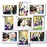 """Adeco Decorative White Wood """"Love"""" Wall Hanging Collage Picture Photo Frame, 4 x 6-Inch"""