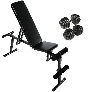 Physionics - Banco de musculación ajustable aprox. 133/33 cm con juego de pesas