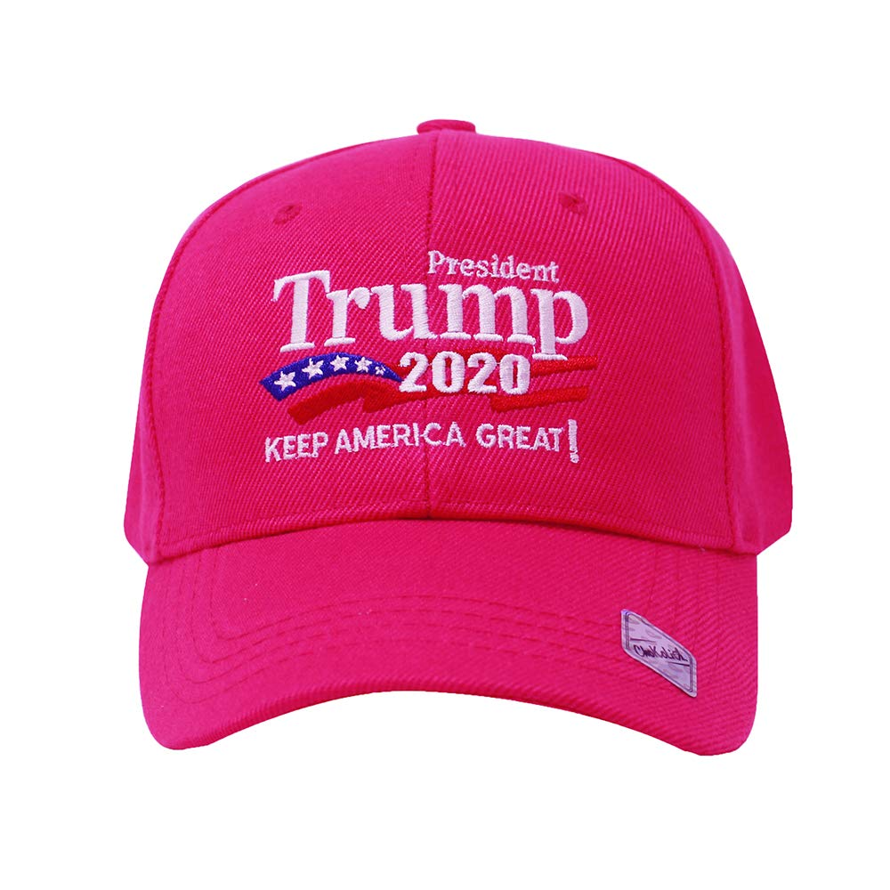 Trump 2020 Keep America Great Campaign Embroidered USA Hat | Baseball Bucket Trucker Cap (Ball Cap Hot Pink)