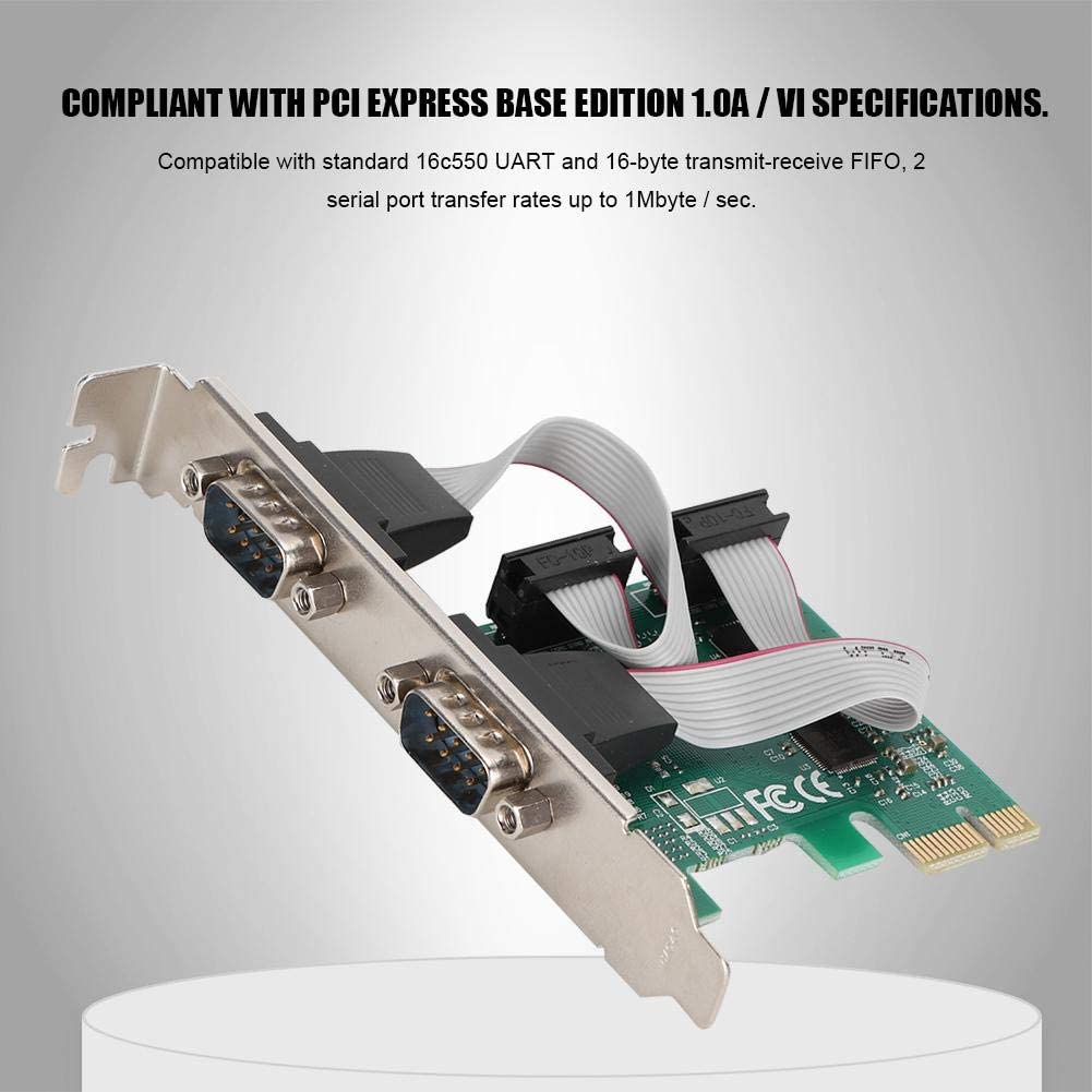 Converter Adapter Controller with 1.5 MB//S Transmission Rate Tonysa 2 Port Serial PCI-e Card ST316 PCI-E to RS232 Extension Adapter Card
