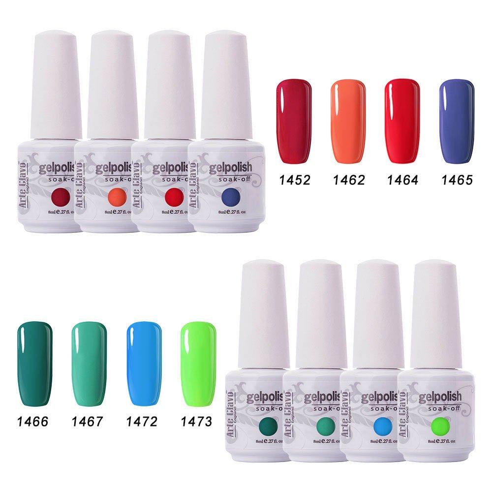 Amazon.com: Arte Clavo Soak Off UV Gel Nail Polish Set of 8 Pcs Nail ...
