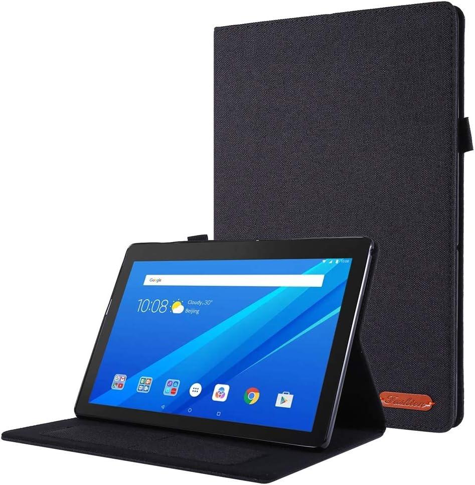 DETUOSI Fabric+TPU Case for Lenovo Tab M10 (TB-X605F) 2018/ M10 HD (TB-X505F) 2019 10.1 inch Case,【Multi-Angle Viewing】 Slim Soft Protective Magnetic Fabric+TPU Lenovo Cover with Card Holder #Black