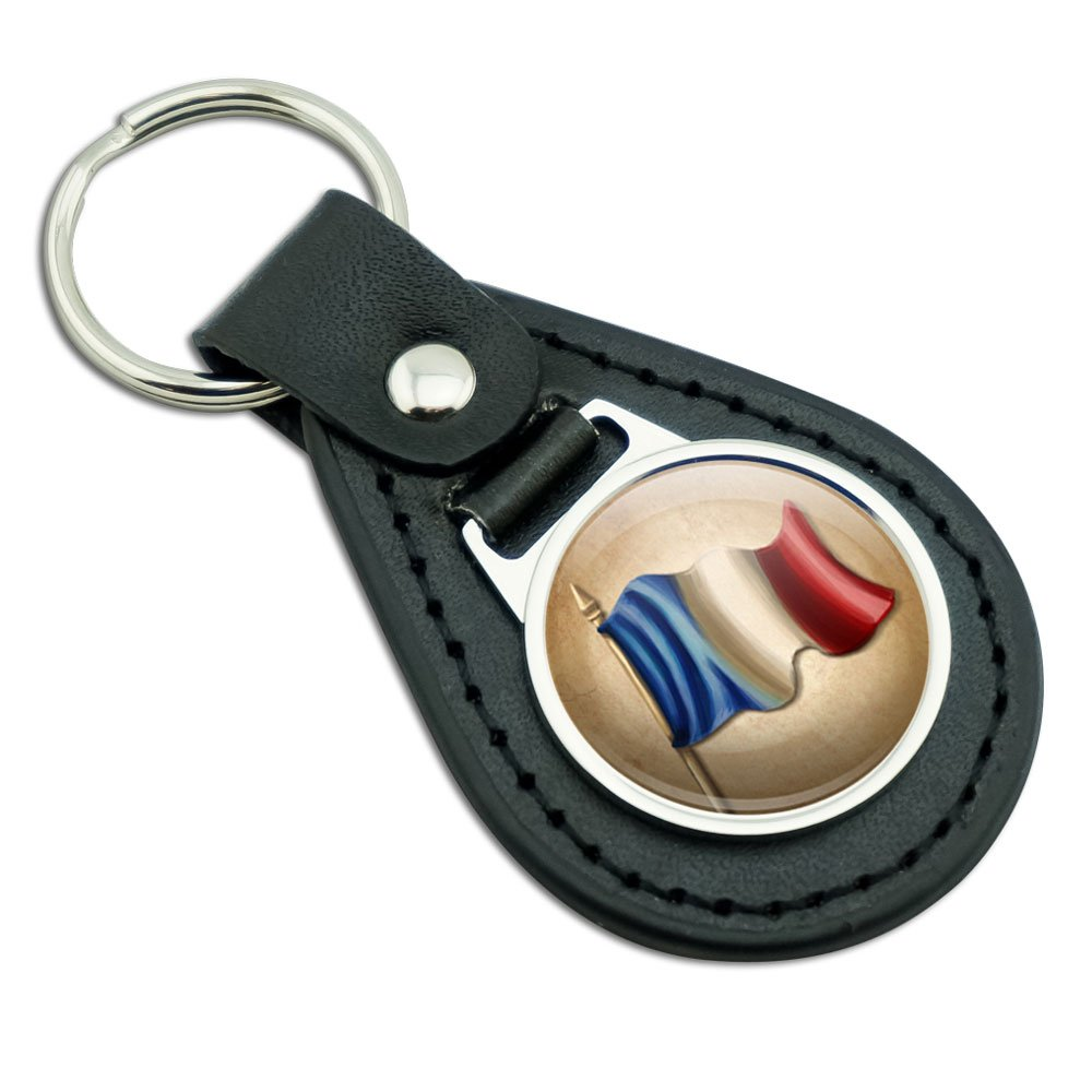 ヴィンテージフランス国旗Franceブラックレザーメタルキーチェーンキーリング B00R1WP67W