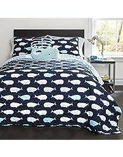 Lush Decor 4 Piece Whale Quilt Set