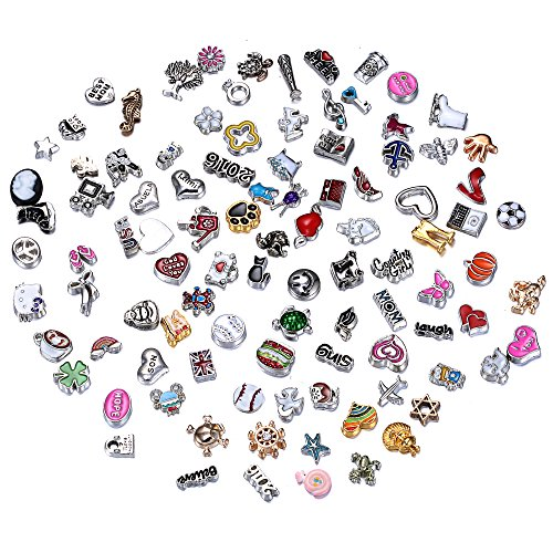 Rinhoo Random Charms for Glass Living Memory Lockets DIY Wholesale Lot Mix 100pc