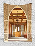asddcdfdd Arabian Decor Collection, Traditional Arabian Architecture in Doha Qatar Middle East Oriental Landmark Hotel Picture, Bedroom Living Room Dorm Wall Hanging Tapestry, Ivory Peru