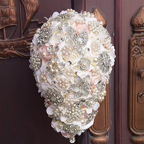 Luxurious Romantic Rose Flower shiny luxury covered diamond wedding bouquet brooches flower pearl custom bride holding bouquet by FYSTORE