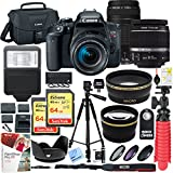 Canon EOS Rebel T7i DSLR Camera with EF-S 18-55mm f/3.5-5.6 IS II and EF 75-300mm f/4-5.6 III Lens and 64GB Memory Card Plus Triple Battery Accessory Bundle