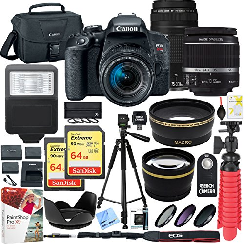Canon EOS Rebel T7i DSLR Camera with EF-S 18-55mm f/3.5-5.6 IS II and EF 75-300mm f/4-5.6 III Lens and 64GB Memory Card Plus Triple Battery Accessory Bundle by Canon