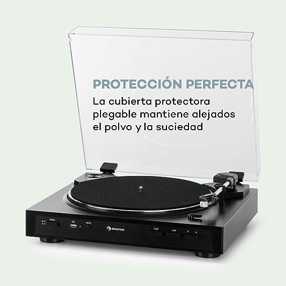 auna Fullmatic Black Edition - Tocadiscos automático, Velocidad 33 ...