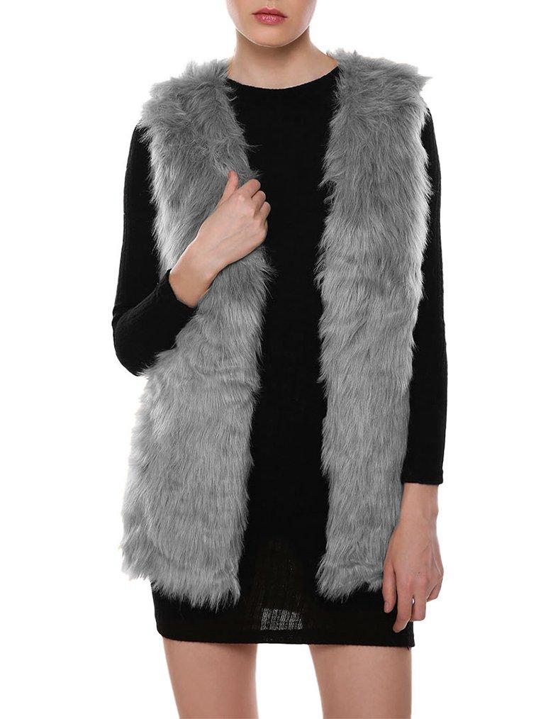 Naggoo Womens Faux Fur Waistcoat Vest Gilet Outwear Coat Mid-Long Jacket (XXL, Gray)