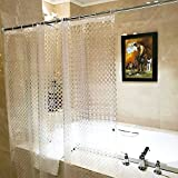 Adwatia Mildew Resistant shower curtain Liner,3D circle modern design EVA bathroom curtains(With Magnets & Thick Material, 72''x72'')