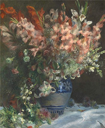 Oil Painting 'Pierre Auguste Renoir Gladioli In A Vase', 12 x 15 inch / 30 x 37 cm , on High Definition HD canvas prints is for Gifts And Game Room, Garage And Nursery Decoration, (Evidence Photo Numbers)