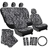 zebra seat covers for a car - OxGord 21pc Set Zebra Car Seat Cover, Carpet Floor Mats Steering Wheel Cover Shoulder Pad-Airbag-Front Low Buckets-50-50 or 60-40 Rear Split Bench-Universal Fit, Truck, SUV, or Van, Charcoal Gray