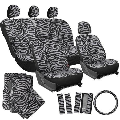 OxGord 21pc Set Zebra Car Seat Cover, Carpet Floor Mats Stee