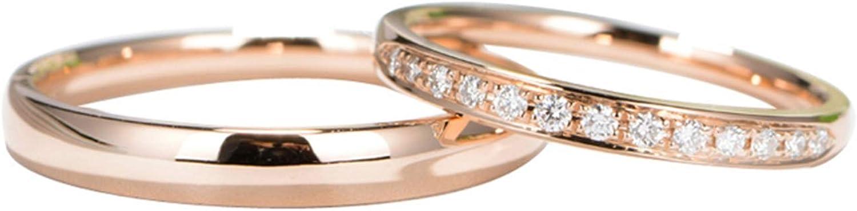 Epinki Anillo Oro Rosa 18k Redondo Diamante 0.11ct Anillo Compromiso de Hombre