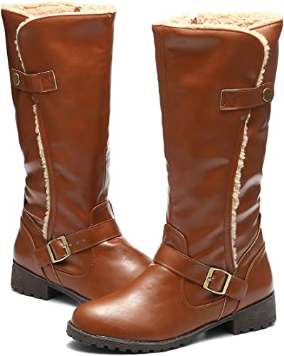 gracosy Women's Knee Boots, Leather Ankle Boots Warm Snow Booties Mid Calf Boots Flat Warm Fur Lining