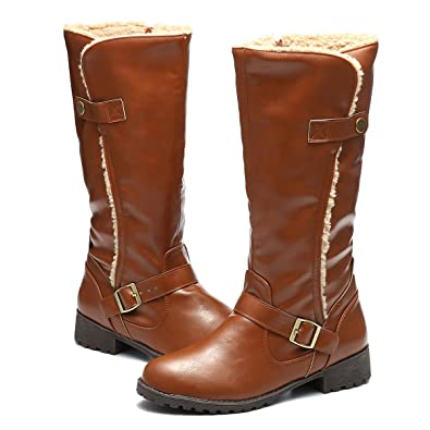 e2d27161305 gracosy Women's Knee Boots, Leather Ankle Boots Warm Snow Booties Mid Calf  Boots Flat Warm Fur Lining