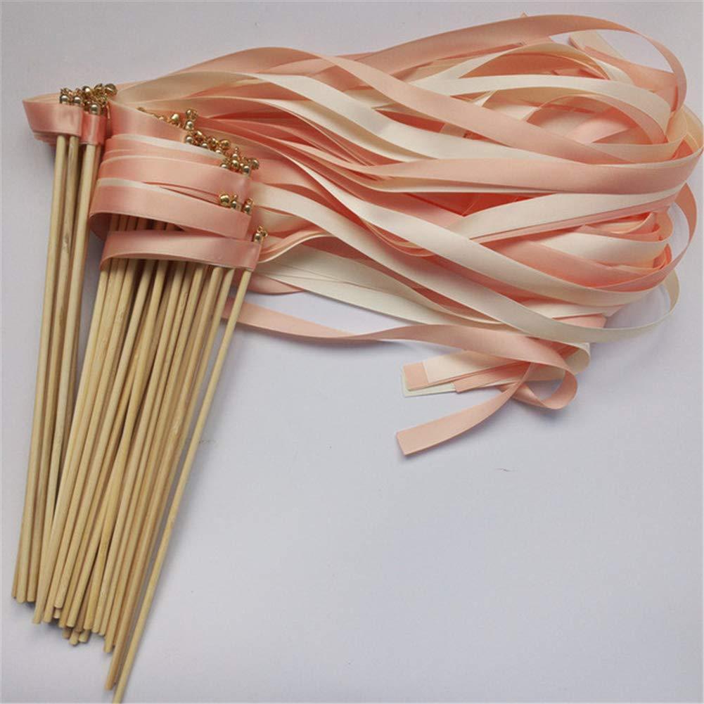 50pcs Purple Orange Red Wedding Ribbon Wands with Bell Ribbon Twirling Streamers Wedding Ribbon Stick