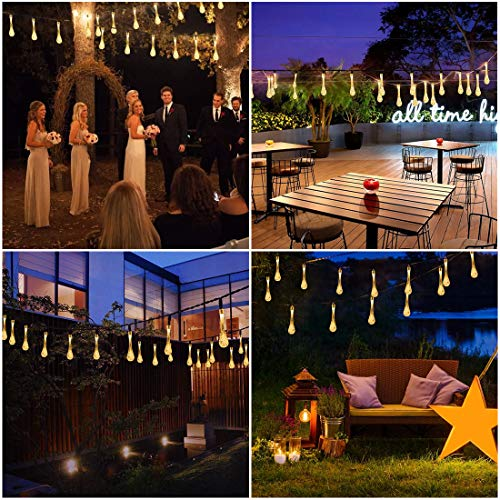 Battery Operated Raindrop String Lights, 36ft 60 LED USB Waterproof Fairy Decorative Lighting with Remote Control for Garden Patio Yard Home Parties Camping Indoor Outdoor Décor, NO Battery Included