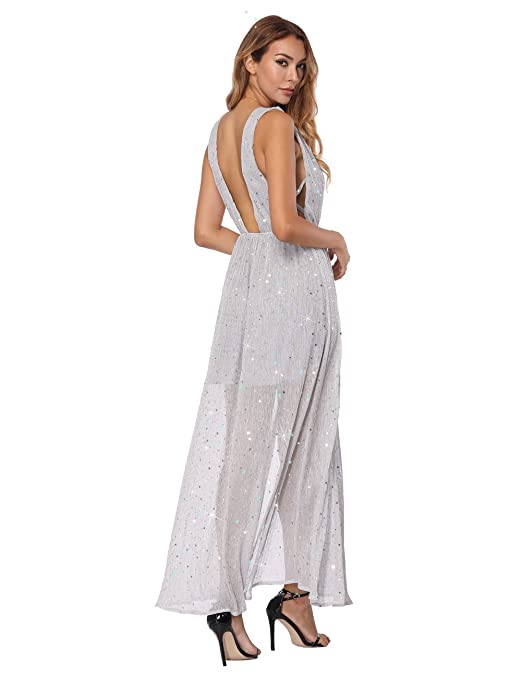 Womens Sexy Deep V Neck Backless Split Maxi Cocktail Long Party Dresses at Amazon Womens Clothing store: