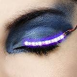 generic LED Eyelashes Light, 7 Modes Unisex Flashes Interactive Changing LED False Lashes Shining Eyeliner, Perfect for Party Bar NightClub Concerts Birthday Gift (Purple)