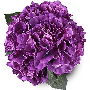 Amazon purple african violet artificial silk flower bushes 3 silk hydrange purple 5 heads soledi artificial flower arrangements bunch bridal bouquet wedding party garden home mightylinksfo