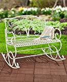 Outdoor Metal Rocking Bench (Antique White) For Sale