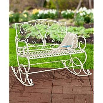 Outdoor Metal Rocking Bench (Antique White)