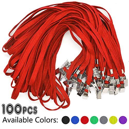 Red Lanyards 100 Pack Bulk Badge Lanyards with Clip Neck Flat Lanyard with Badge Lanyard Bulldog Clip]()