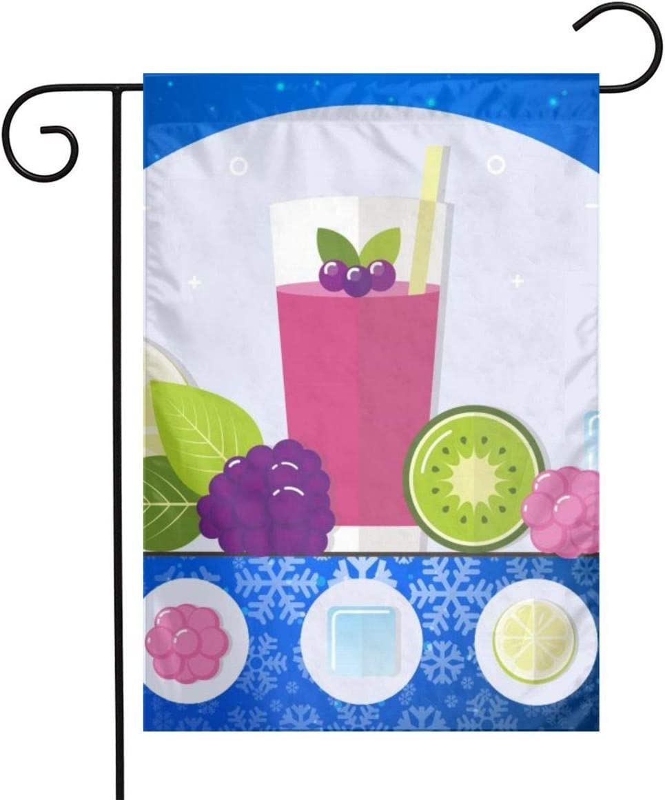 Fruit Smoothie Garden Flags House Indoor & Outdoor Holiday Decorations,Waterproof Polyester Yard Decorative for Game Family Party Banner