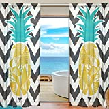 SEULIFE Window Sheer Curtain, Pineapple Chevron Pattern Voile Curtain Drapes for Door Kitchen Living Room Bedroom 55x78 inches 2 Panels
