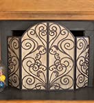 Garden Gate Decorative Fireplace Screen with Driftwood-Inspired Wood Panels and Iron Metal Frame 48.5 L x 34.5 H from Plow & Hearth