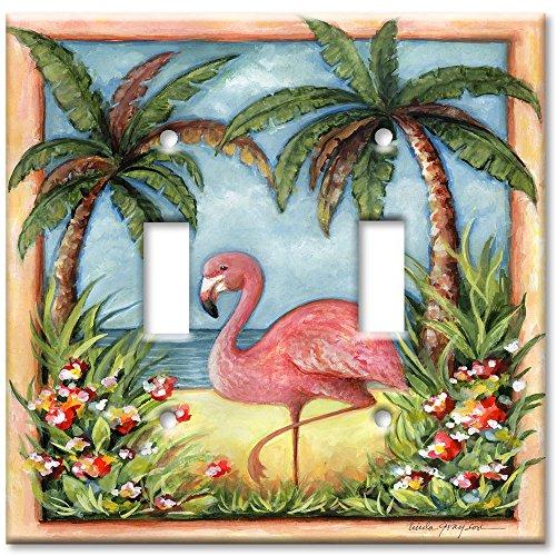 [Art Plates® - Double Gang Toggle OVERSIZE Switch Plate - Flamingo] (Oversize Light Switchplates)