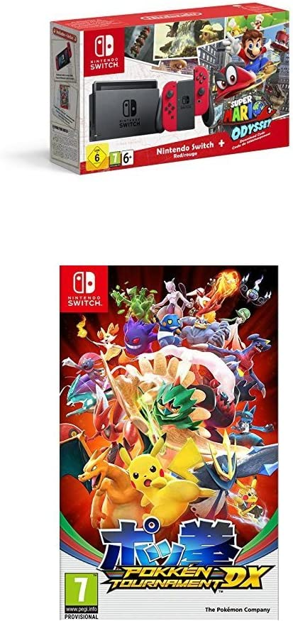 Nintendo Switch - Consola + Super Mario Odyssey Bundle (Código Descarga) + Pokkén Tournament DX: Amazon.es: Videojuegos